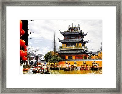 Temple Pagoda Zhujiajiao - Shanghai China Framed Print