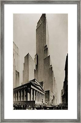 Temples Of Commerce, An Illustration Framed Print