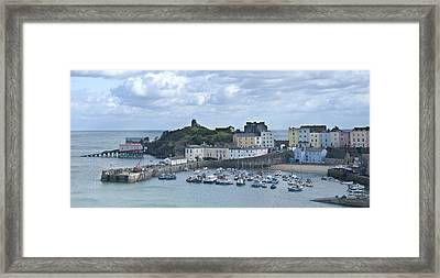 Framed Print featuring the photograph Tenby Harbour Pembrokeshire Panorama by Steve Purnell