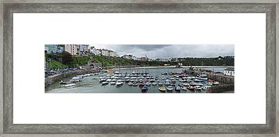 Framed Print featuring the photograph Tenby Panorama by Steve Purnell