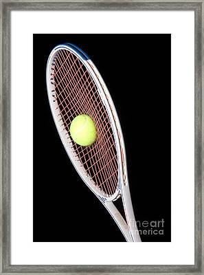 Tennis Ball And Racket Framed Print by Ted Kinsman