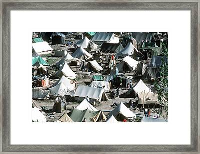 Tents Cover The Mountainside Framed Print