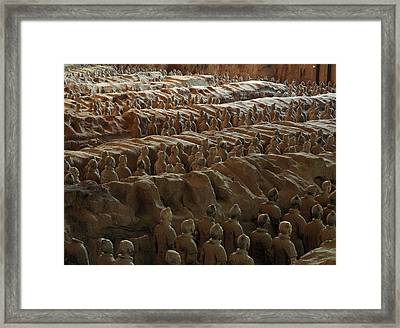 Terra-cotta Soldiers Face An Imaginary Framed Print by O. Louis Mazzatenta