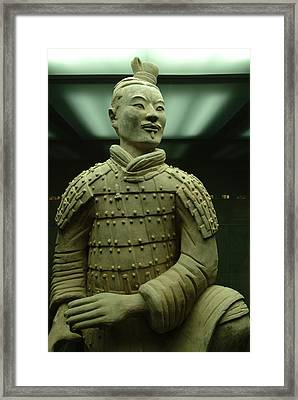 Terra Cotta Warrior Excavated At Qin Framed Print