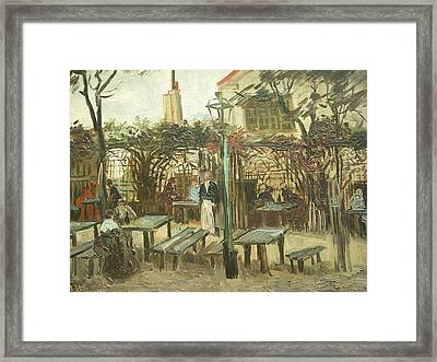 Terrace Of A Cafe On Montmartre La Guinguette Framed Print