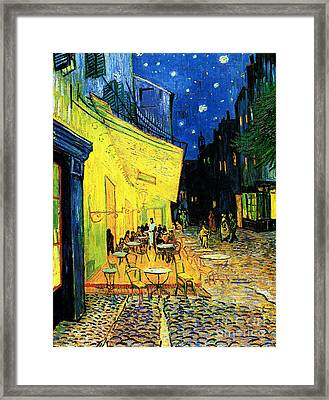 Terrace Of The Cafe On The Place Du Forum In Arles In The Evening Framed Print