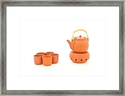 Terracotta Tea Set Framed Print