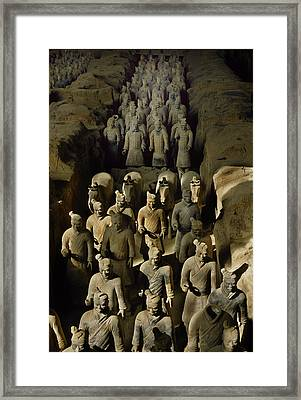 Terracotta Warriors And Horses March Framed Print by O. Louis Mazzatenta