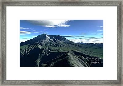 Terragen Render Of Mt. St. Helens Framed Print by Rhys Taylor