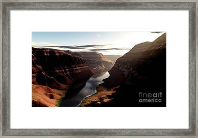 Terragen Render Of Trail Canyon Framed Print by Rhys Taylor