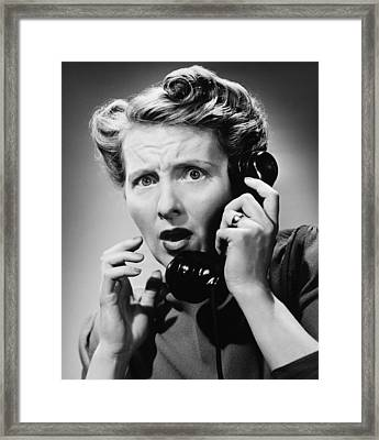 Terrified Woman Talking On Phone, (b&w), Portrait Framed Print by George Marks