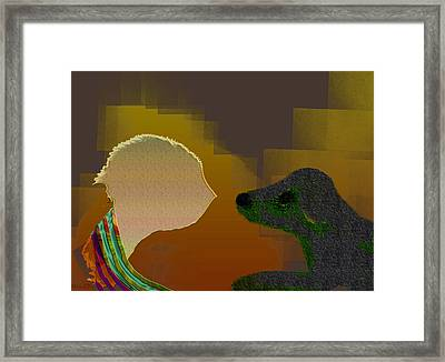Tete A Tete Framed Print by Asok Mukhopadhyay