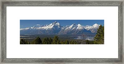 Tetons Over Jackson Lake Framed Print by Twenty Two North Photography