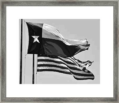 Texas And Usa Flags Flying Bw45 Framed Print by Scott Kelley