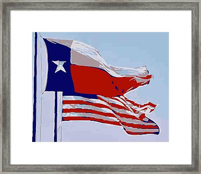 Texas And Usa Flags Flying Color 12 Framed Print by Scott Kelley
