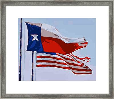 Texas And Usa Flags Flying Color 16 Framed Print by Scott Kelley