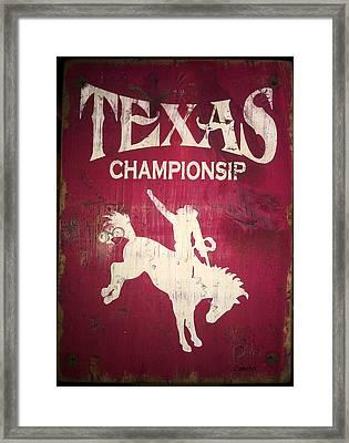 Texas Championsip Framed Print by Eena Bo
