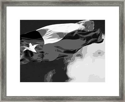 Texas Flag In The Wind Bw15 Framed Print by Scott Kelley