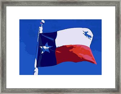 Texas Flag Pole Color 10 Framed Print by Scott Kelley