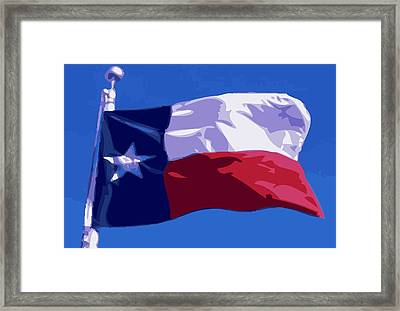 Texas Flag Pole Color 16 Framed Print by Scott Kelley