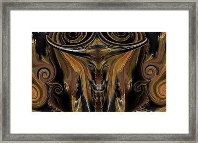 Texas Longhorn Abstract Digital Painting Framed Print