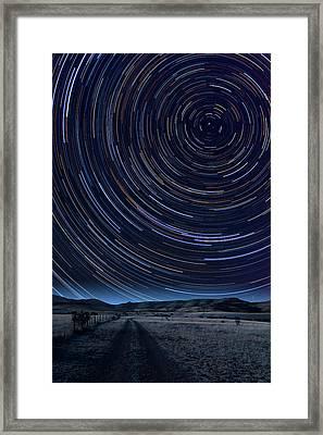 Texas Star Trails Framed Print by Larry Landolfi