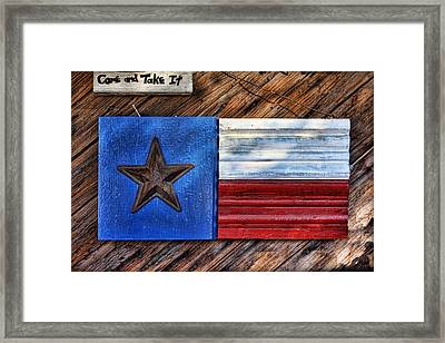 Texas Wood Plaques Framed Print by Linda Phelps
