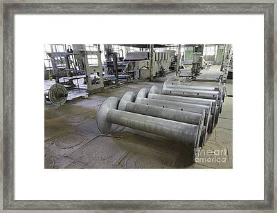 Textile Reels In A Factory Framed Print by Magomed Magomedagaev