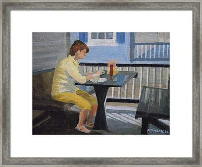 Texting At Breakfast Framed Print by Robert Rohrich