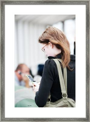 Texting Framed Print by Gary Rose