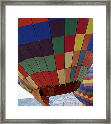Texture Two Hot Air Balloons Framed Print by Kantilal Patel