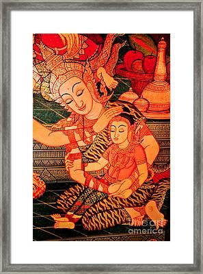 Thai Mother And Child. Framed Print