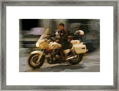 Thai Motorbike Police Framed Print by Kantilal Patel