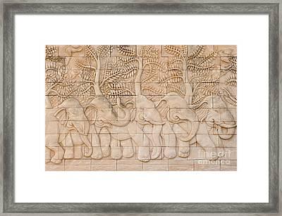 Thai Style Handcraft Of Elephant Framed Print by Phalakon Jaisangat