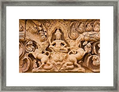 Thai Style Molding Art In The Temple Framed Print by Songsak Wilairit