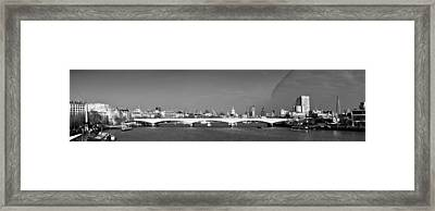 Thames Panorama Weather Front Clearing Bw Framed Print by Gary Eason