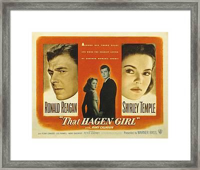 That Hagen Girl, Ronald Reagan, Rory Framed Print by Everett