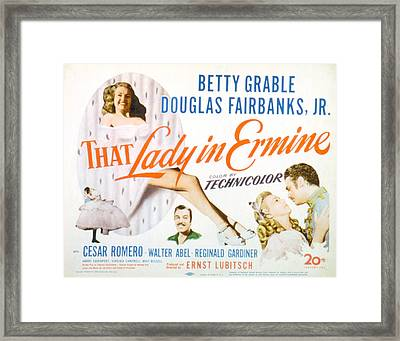 That Lady In Ermine, Betty Grable Framed Print by Everett