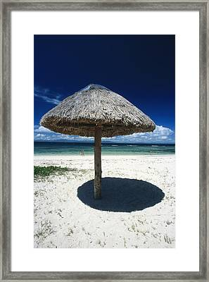 Thatch Palapa Umbrella On Beach Framed Print by James Forte