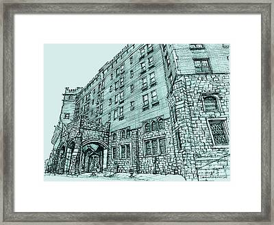 Thayer Hotel In Blue Framed Print by Building  Art