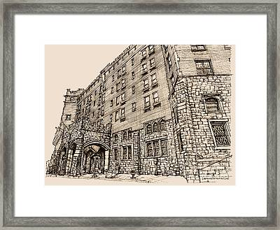 Thayer Hotel In Pink Framed Print by Building  Art