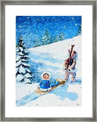 The Aerial Skier - 1 Framed Print by Hanne Lore Koehler