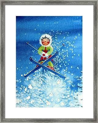 The Aerial Skier - 11 Framed Print by Hanne Lore Koehler