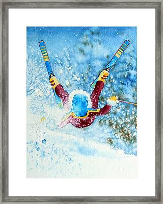 The Aerial Skier - 14 Framed Print by Hanne Lore Koehler