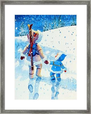 The Aerial Skier - 2 Framed Print by Hanne Lore Koehler