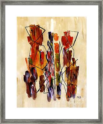 Figurative Abstract African Couple Reproduction On Gallery Wrapped Canvas  Framed Print by Marie Christine Belkadi