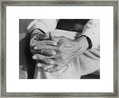 The Aged Hands Of Mr. Henry Brooks Framed Print