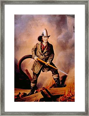 The American Fireman Facing The Enemy Framed Print by Everett