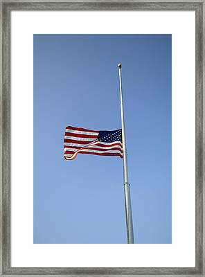 The American Flag At Half Staff  Due Framed Print