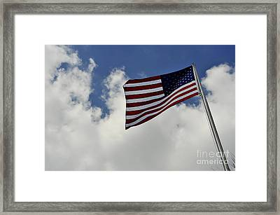 The American Flag Blowing In The Breeze Framed Print